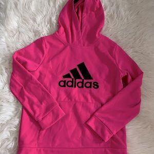 kids adidas logo hot pink sweatshirt